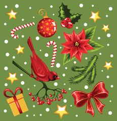 Set of a Christmas design elements.