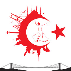 turkish flag and silhouette landmarks vector illustration