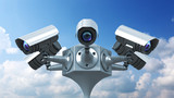surveillance cameras on sky background