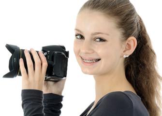 Teenager mit Digitalkamera