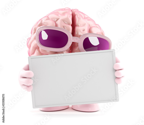 Brain holds a blank banner