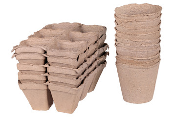 Peat pots, isolated
