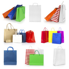 Shopping bags collection isolated