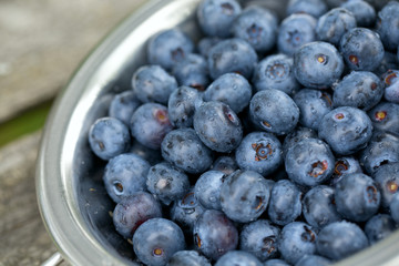 blueberries in a small colander on wooden background