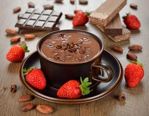 Hot chocolate and strawberry