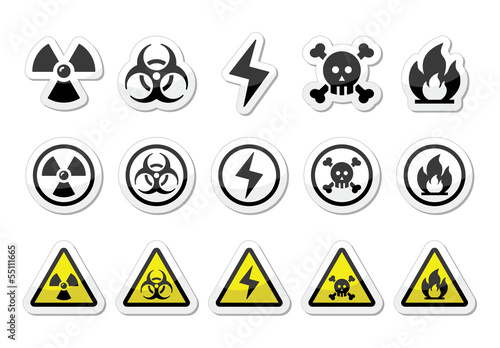 Danger, risk, warning icons set