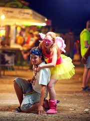 freak people having fun on music festival. youth culture