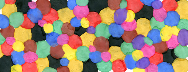 Colored circles made with paint