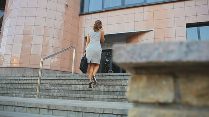 Young business woman enters the office building