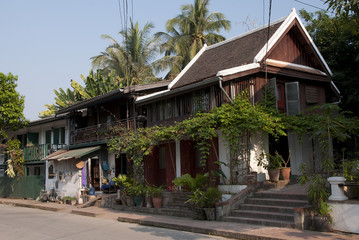 Colonial houses of merchants on the street of Luang Prabang.