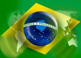 brazil flag on fullframe for 2014-championship with soccerball