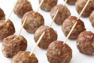 Home-made meatballs served with toothpicks