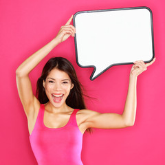 Woman showing sign speech bubble happy sexy