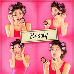 Beauty woman makeup concept collage series on pink