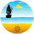 boat with rudder on the beach vector illustration