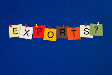 Exports - sign series for business terms.