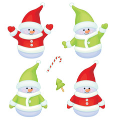 Vector of fun snowmen isolated.
