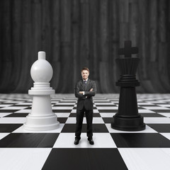 businessman on chessboard