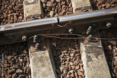 Closeup photo with details of rails joint with gap