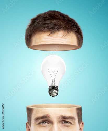 half head and lamp