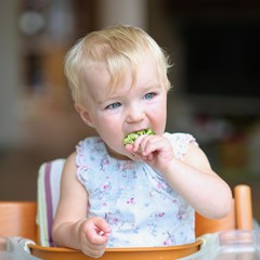 Adorable toddler girl bites on freshly steamed broccoli