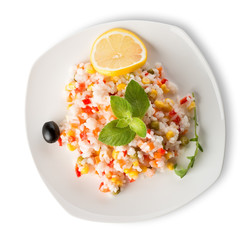 Rice with vegetables and lemon