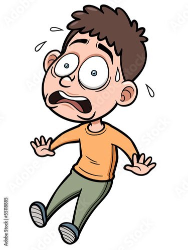 Vector illustration of Cartoon Man scared