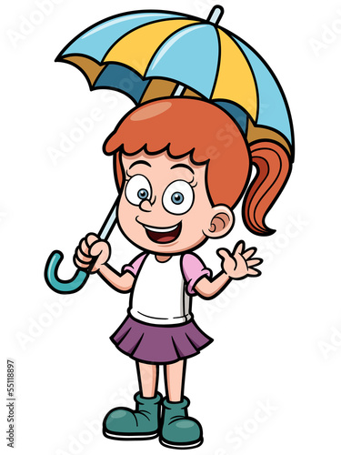 Vector illustration of Little girl with umbrella