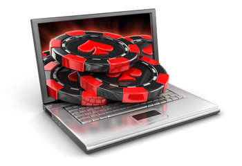 Laptop and Casino chips (clipping path included)