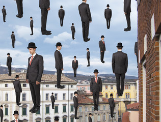businessmen floating in the sky over european city, magritte sty