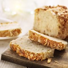 sliced sugar bread with almons and cinnamon