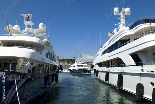 luxurious yachts in the harbor of Cannes
