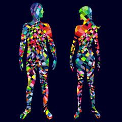 Colorful man and woman body.