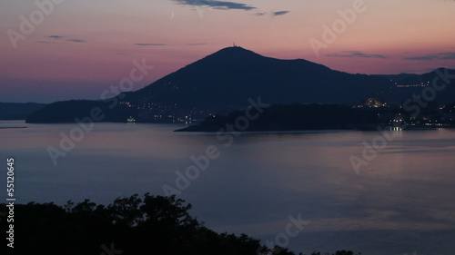 the sea and the mountains. evening view of Budva, Montenegro