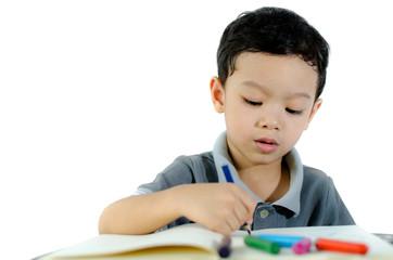 Cute little schoolboy drawing