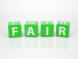 Fair out of green Letter Dices