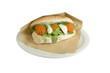 Luxury sandwich steak tartare with egg on white background.