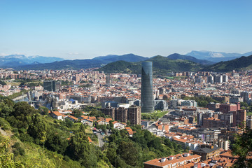 Panoramic views of Bilbao city, Bizkaia, Basque Country, Spain.