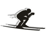 Skiing competitor - Silhouette poster