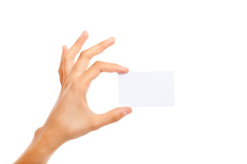 Male's hand holding a blank card