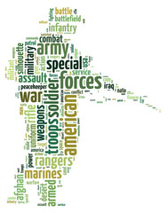 Words illustration of an army personnel in white background