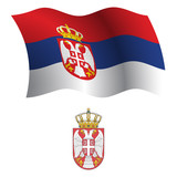 serbia wavy flag and coat