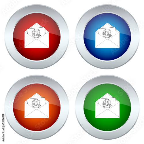 set of buttons with a picture of an envelope