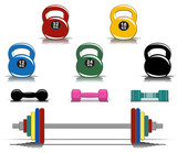 Collection of colorful fitness equipment