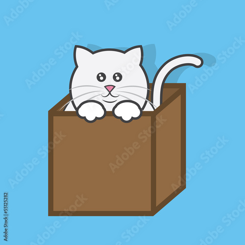 Cat popping out of cardboard box