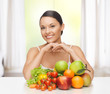woman with fresh fruits and vegetables