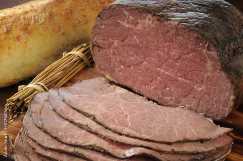 Sliced roast beef and bread