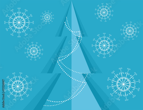 Christmas background with pine and snowflakes