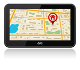 gps device icon with map