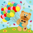 Bear with balloons - vector illustration